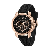 【Maserati 瑪莎拉蒂】SUCCESSO經典三眼矽膠胎紋設計時尚腕錶/R8871621012/台灣總代理公司貨享兩年保固