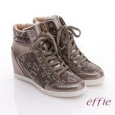 effie 機能美型靴 真皮緹花布料內增高休閒鞋 深灰
