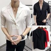襯衫潮男韓版修身潮流帥氣中袖薄款短袖襯衣