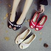 新款民族風亞麻繡花鞋涼鞋 復古魚嘴露趾涼鞋老北京布鞋低跟女單鞋