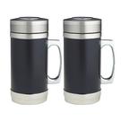 《尊品》時尚黑不鏽鋼保溫杯520ML(有柄)(二入)  FXZ-8890X2