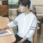 2019夏裝季帥氣個性韓版寬鬆半7七分袖短袖T恤男學生潮流襯衫上衣