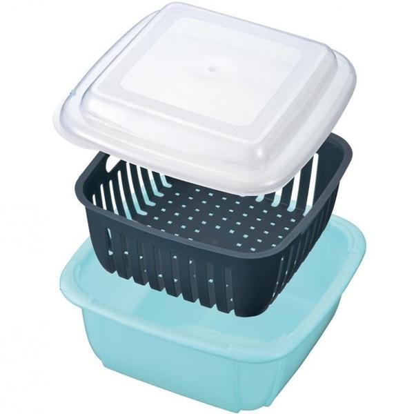 小禮堂 方形瀝水保鮮盒 2.3L (綠盒) 4527231-05899