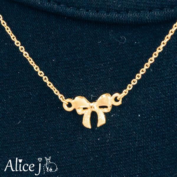 甜美蝴蝶結 黃金項鍊