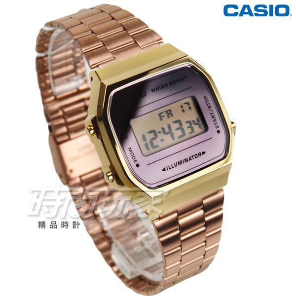 CASIO卡西歐 A168WECM-5 經典時尚復古造型設計數位錶 中性錶 男錶 女錶 金x玫瑰金 A168WECM-5DF