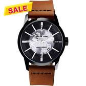 【挑戰最低價】RELAX TIME RT62系列 人動電能地球腕錶-黑x咖啡45mm RT-62K-6