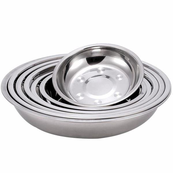 不銹鋼盤子家用圓盤平盤托盤餐盤深盤鐵盤菜盤圓形碟子果盤燒烤盤  泡芙女孩輕時尚
