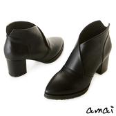 amai美型交叉V口尖頭粗跟踝靴 黑