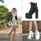 歐美風JC恨天高女靴超高跟防水台厚底鋸齒朋克細帶粗跟短靴女  ciyo 黛雅