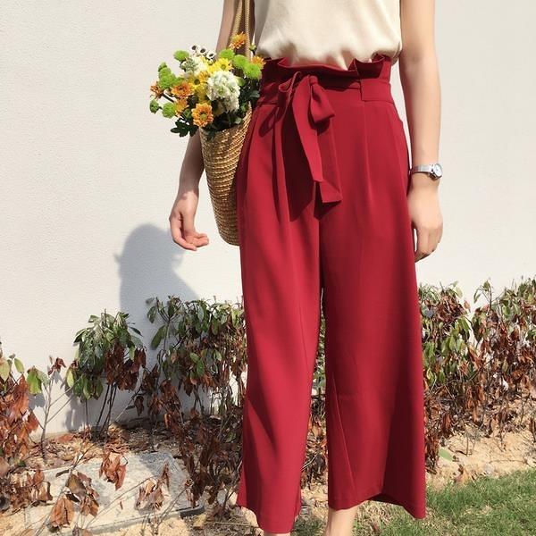 [超豐國際]夏季女裝百搭高腰闊腿褲系帶休閑褲寬松顯瘦直筒褲學1入