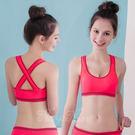 居家服內睡衣  運動式無鋼圈    重量交叉無縫美背運動內衣S-XL(桃粉) 《生活美學》