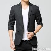 西裝男士休閒韓版修身單上衣青年帥氣薄款小西裝毛呢西服外套潮流  印象家品
