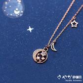 【Sayaka紗彌佳】925純銀星月天空鑲鑽造型項鍊