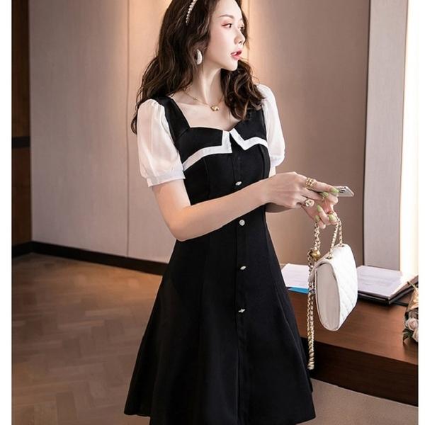 黑白香風收腰A字約會洋裝[99167-QF]美之札
