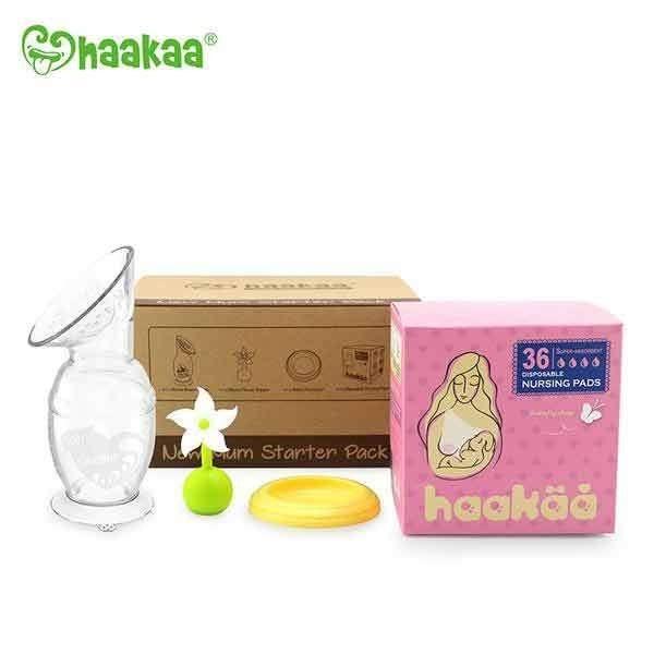 Haakaa 小花集乳器.新手媽咪超值禮盒(150ml吸乳器+小花瓶塞+防塵蓋+溢乳墊) /手動吸乳器