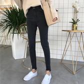九分牛仔褲女春季新款百搭復古高腰顯瘦須邊彈力小腳鉛筆褲【特價】