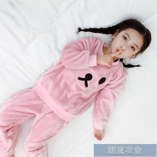 睡衣女童 兒童法蘭絨睡衣秋冬裝女童家居服小女孩加厚款珊瑚絨套裝寶寶公主【新年特惠】