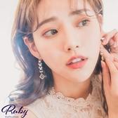 耳環 韓國直送‧串珠水鑽垂墜夾式耳環-Ruby s 露比午茶