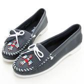 美國正品【MINNETONKA 】海軍藍色雷鳥牛皮莫卡辛女鞋【 在台24H 寄出】