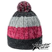 【PolarStar】童 條紋造型覆耳保暖帽『黑紅』P17623 針織帽 造型帽 遮陽帽 毛帽 毛線帽 帽子