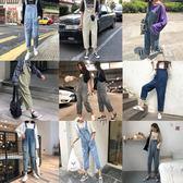 吊帶褲 學院風百搭休閒破洞牛仔連體背帶褲女秋季新款韓版寬鬆顯瘦直筒褲