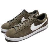 Nike 休閒鞋 Blazer Low 綠 白 麂皮鞋面 復古 運動鞋 男鞋【PUMP306】 371760-209