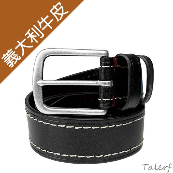 TALERF單層壓車線休閒皮帶(黑色/共3色)-男 /真皮 牛皮/台灣製造