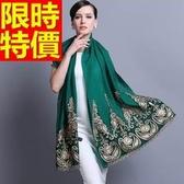 披肩-秋冬羊毛繡花刺繡金絲女圍巾65p14【巴黎精品】