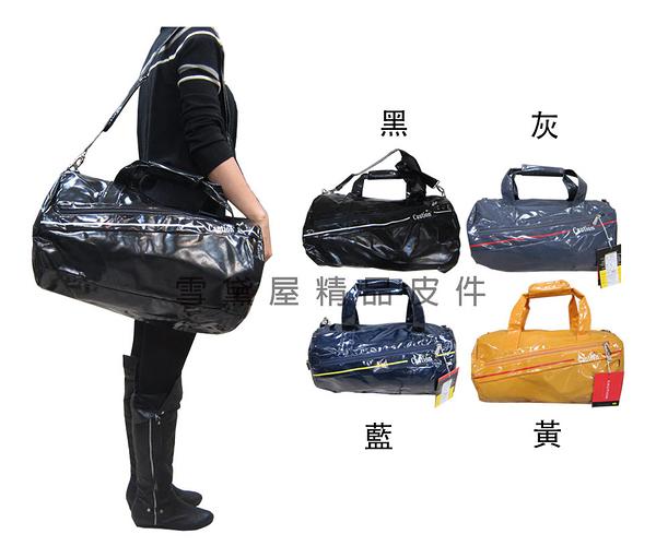 ~雪黛屋~CAUTION 圓筒旅行袋中容量手提肩背斜側護肩長背帶台灣製防水鏡面特多龍600D材質ATB8631(中)