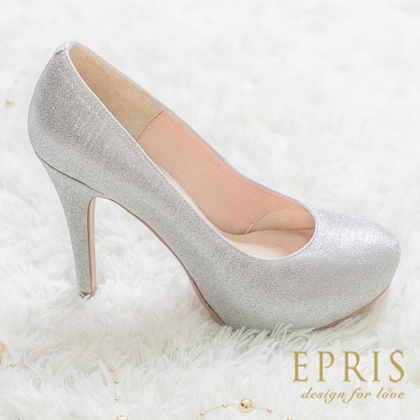 現貨 MIT小中大尺碼婚鞋推薦 花漾女神 經典內增高跟鞋 19-26 EPRIS艾佩絲-星光銀