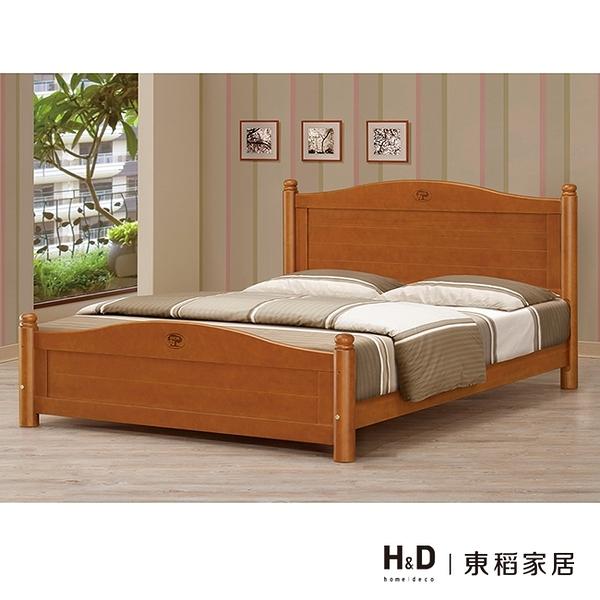 5尺圓柱柚木色雙人床(21CM/669-1)/H&D東稻家居
