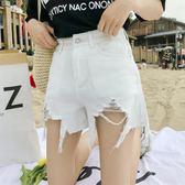 新年好禮 牛仔短褲女夏2018新款韓版百搭高腰寬鬆學生薄不規則破洞熱褲子潮