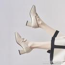 單鞋英倫小皮鞋女新款春秋鞋子復古小高跟單鞋女粗跟一腳蹬樂福鞋 【快速出貨】