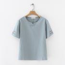韓版棉麻領口盤扣復古短袖T恤上衣(3色XL~3XL)*ORead*
