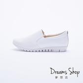 大尺碼女鞋 夢想店 MIT台灣製造時尚休閒風簡約真皮樂福鞋2.5cm(41-45)【PW2109】白色