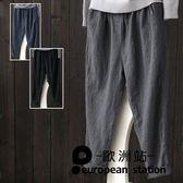 休閒褲/棉麻褲女亞麻長褲小腳哈倫褲女「歐洲站」