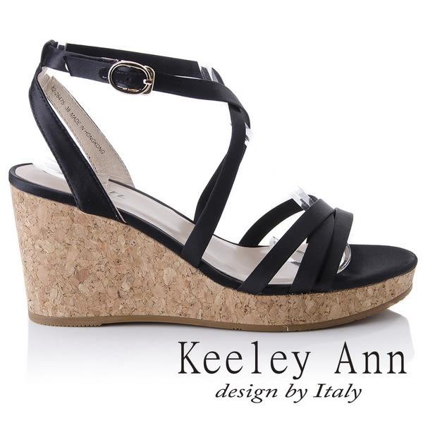 ★2018春夏★Keeley Ann甜美氣息~韓系緞面簡約交叉環繞楔形涼鞋(黑色) -Ann系列