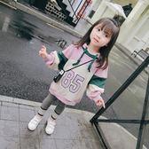 萬聖節狂歡   童裝女童2018秋裝新款韓版洋氣連帽大學T女寶寶春秋時髦百搭上衣潮