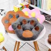 坐墊 卡通熊掌坐墊靠背熊爪子抱枕辦公室椅子座墊冬季毛絨加厚坐墊椅墊 瑪麗蓮安igo