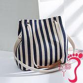 手提包 女包帆布水桶包條紋單肩包斜跨多用包韓版時尚純色媽咪手提包