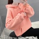 超火cec衛衣女潮ins秋冬季韓版寬鬆bf慵懶風學生加絨加厚連帽外套「時尚彩紅屋」