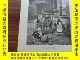 二手書博民逛書店【罕見】1889年木刻版畫《兒童遊戲》(Krieg im fri