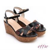 effie 摩登美型 真皮拼接民俗風布料楔型涼鞋  黑
