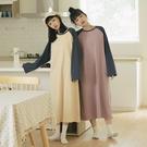 Queen Shop【01085350】棒球袖撞色休閒長版洋裝 兩色售*現+預*