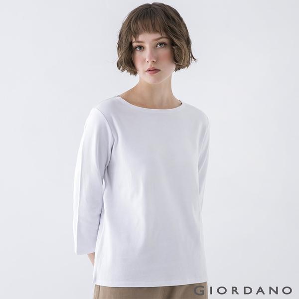 【GIORDANO】女裝簡約厚磅七分袖T恤 - 99 標誌白