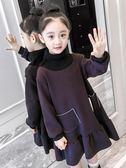 女童秋冬裝洋裝新款韓版兒童加厚裙子女孩子洋氣加絨連帽T恤裙 童趣潮品