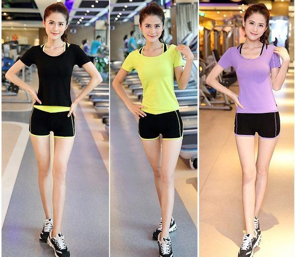 瑜伽健身服套裝跑步服套夜跑速幹T恤女運動胸罩短褲  - dixia002