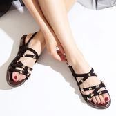 羅馬涼鞋 星星涼鞋平底交叉綁帶波西米亞羅馬沙灘鞋 巴黎春天