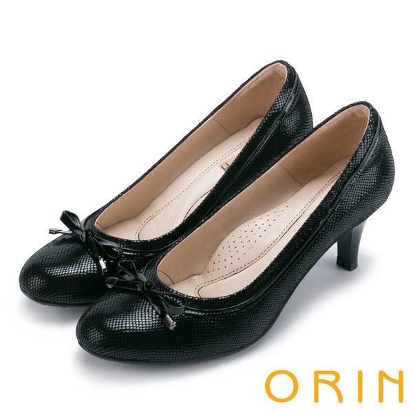 ORIN 魅力輕時尚 柔軟蛇紋羊皮蝴蝶結高跟鞋-黑色