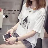 圖案短T--休閒可愛貓幾何印圖簡約圓領短袖上衣(白.黑L-3L)-T295眼圈熊中大尺碼
